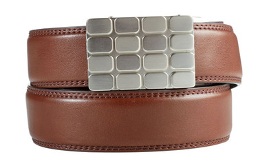 Cardiff Buckle in Silver Nickel with Brown Leather