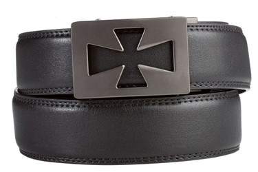 Ventura Buckle in Gunmetal with Black Leather