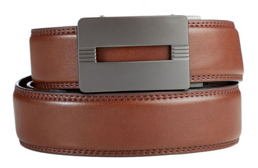 Malibu Buckle in Gunmetal with Brown Leather
