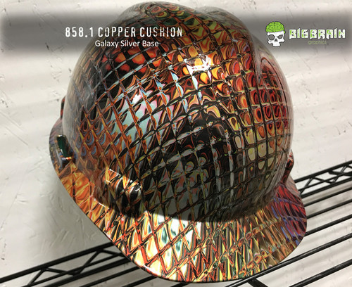 Copper Cushion Mosaic Tile Glass Abstract Awesome Hydrographic Dip Film Pattern Big Brain Graphics Galaxy Silver Base HardHat