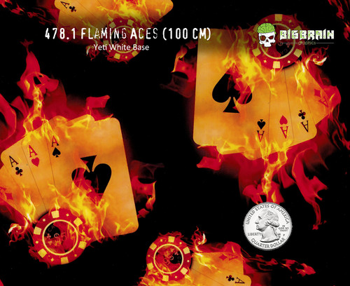 Flaming Aces Fire Gambling Gambler Fire Cards Hydrographic Film Dip Dipping Pattern Big Brain Graphics Trusted USA Seller Cool Pattern Yeti White Base Quarter Reference