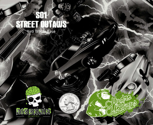 Street Outlaws Racing Lightning Hydromonkeys Hydromonkey Hydrographics Dipping Dip Film Hydrographic Big Brain Graphics Yeti White Base Quarter Reference
