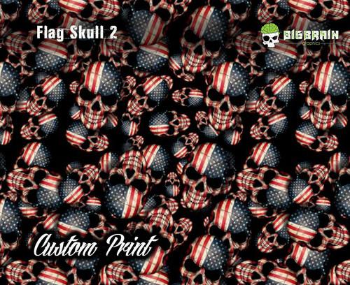 American Flag Skulls 2 Custom Printed Film Custom Hydrographics Printed Film Big Brain Graphics US Seller Hydrographics Printer For Sale
