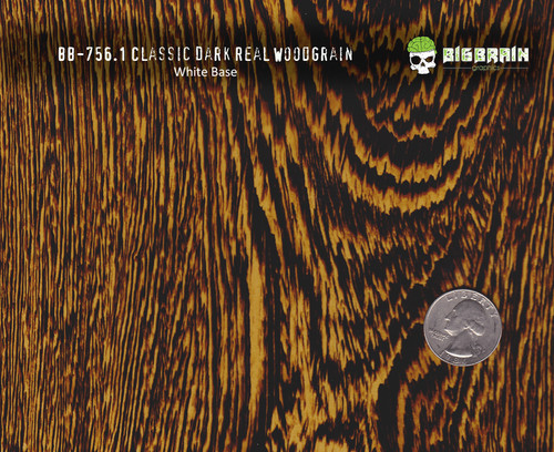 Dark Classic Real Wood Woodgrain Hydrographics Pattern Big Brain Graphics White Base Size Reference