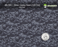 Silver Classy Swirl Subtle Girly Woman Hydrographics Pattern Black Base Big Brain Graphics Quarter Reference