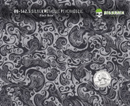 Silver Metallic Paisley Hydrographics Film Girly Woman Big Brain Graphics Supplier USA Seller Buy Supplies Black Base Quarter Reference