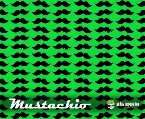 Mustachio Mustache Hydrographics Film Big Brain Graphics Lime Green Base