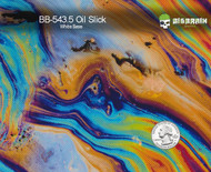 Oil Slick Colorful Incredible Pattern Big Brain Graphics White Base Hydrographics Film Pattern Quarter Reference