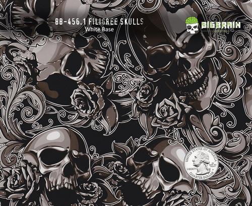 Filigree Skulls 456 Hydrographics Pattern Film Buy Dipping Big Brain Graphics Seller White Base Quarter Reference