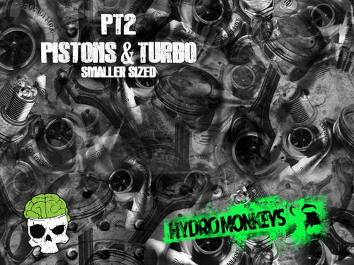 Pistons & Turbo 2 PT2 Hydrographics Pattern Film Buy Dipping Big Brain Graphics Seller White Base