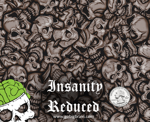 Insanity Reduced Skulls Skull Big Brain Graphics Custom Hydrographics Film Pattern Big Brain Graphics White Base Quarter