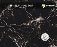 Chained Skulls Chain Hydrographics Film Pattern Big Brain Graphics White Base Quarter