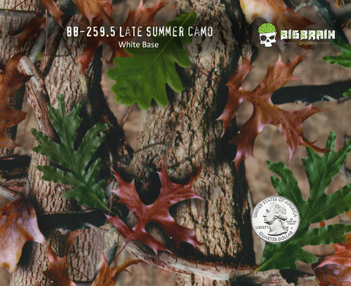 Late Summer Camo Camoflauge Leaf Hydrographics Film Big Brain Graphics White Base Quarter Base