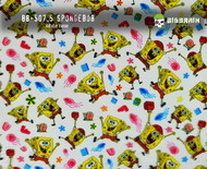 Spongebob Fun Cartoon Pattern Big Brain Graphics White Base