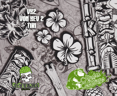 Von Kev Tiki VK2 Hawaii Hawaiian Party Hut Hydromonkeys Hydrographics Film Dip Pattern Big Brain Graphics USA Seller White Base