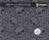 Paisley Silver Metallic Skulls Clear Hydrographics Feminine Skull Pattern Film Big Brain Graphics Black Base Quarter Reference