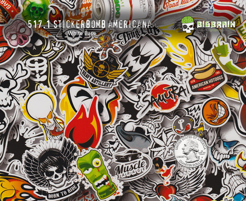 Stickerbomb americana sticker bomb stickers thug life dope hydrographics film big brain graphics white base quarter