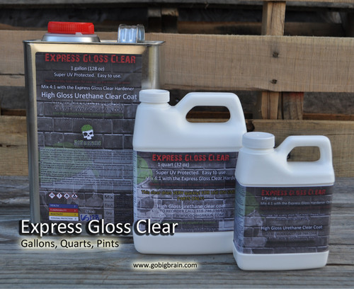 Express Gloss Gallon Complete Setup Highly UV Protected Automotive Clear Big Brain Automotive Gallon Quart Pint Fastest Drying Clear ever