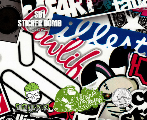 Stickerbomb Sticker Bomb SB1 Illest Hoonigan Hydromonkeys Hydrographics Film Dip Pattern Big Brain Graphics USA Trusted Seller White Base Quarter Reference