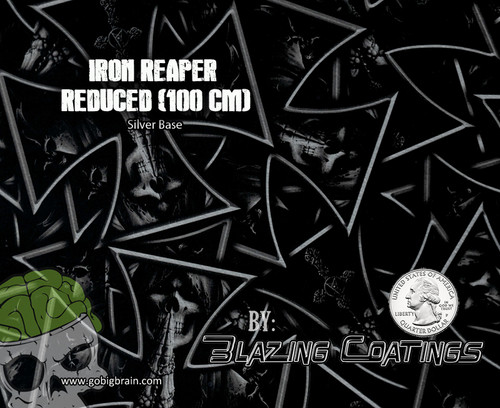 Blazing Coatings Iron Reaper Black Clear Maltese Cross Grim Reaper Big Brain Graphics Seller Hydrographics Film Coatings White Base Quarter Reference