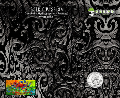 Gothic Passion Etched Metal Realistic Hydrographics Pattern Deep Paint Portugal Big Brain Graphics Hydrographics Seller Buy Film USA White Base Quarter Reference