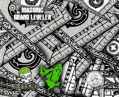 Mason Masonic Grand Leveller Leveler Hydrographics Film Secret Society Big Brain Graphics Big Dawg Graphics Rabid Film Seller USA Based White Base Quarter Reference