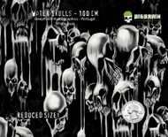 Water Skulls Reduced 100 CM wide Deep Paint Portugal Big Brain Graphics Hydrographics Film Coatings Seller USA Respected White Base Quarter Reference