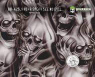 Hear Speak See No Evil Skulls Motorcycle Hydrographics Pattern Big Brain Graphics White Base Quarter Reference