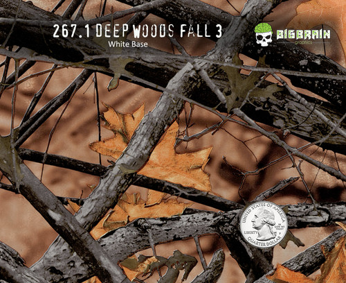 Deep Woods Fall 2 Camoflauge Hydrographics Film Pattern Big Brain Graphics White Base Quarter Reference