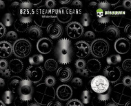 Steampunk Gears Hydrographics Film Black Clear Revolution Pattern Big Brain Graphics Seller White Base Quarter Reference