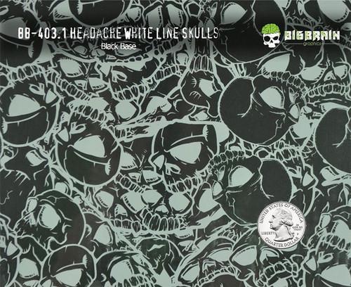 Headache White Line Skulls Hydrographics Film Big Brain Graphics Patterns Pattern Black Base Quarter Reference