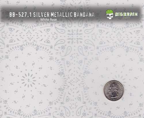 Silver Bandana Clear Handkerchief Metallic Pattern Big Brain Graphics White Base with Size Reference