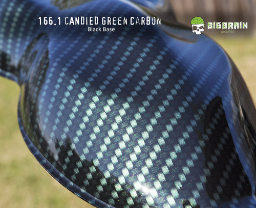 Candied Green Candy Carbon Fiber Patterns Hydrographics Film Big Brain Graphics Trusted USA Seller Black Base Reflective