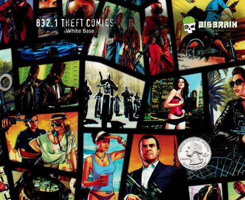 Grand Theft Auto Comic Book Pattern Film Hydrographics Big Brain Graphics Trusted USA Seller White Base Quarter Reference