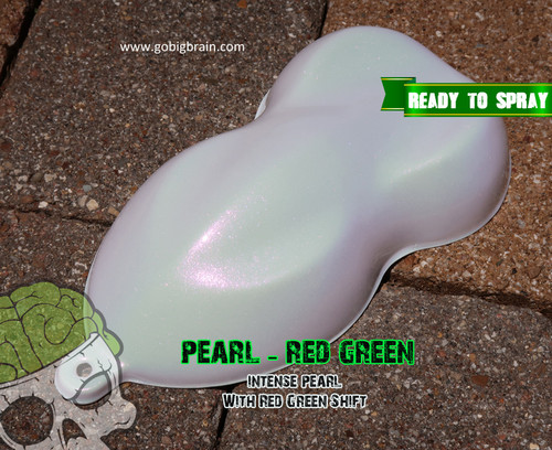 Pearl Paint with Red to Green color shift has pink tint to it with a slight green tinge Big Brain Coatings Big Brain Graphics High Quality Paints Trusted US Seller over White