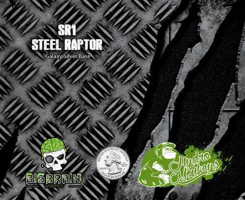 Steel Raptor Diamond Plate Checkerplate Torn Metal Steel Hydromonkeys Hydrographics Dip Pattern Film Big Brain Graphics USA Trusted Seller Silver Base Quarter Reference