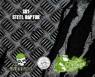 Steel Raptor Diamond Plate Checkerplate Torn Metal Steel Hydromonkeys Hydrographics Dip Pattern Film Big Brain Graphics USA Trusted Seller Silver Base Quarter Reference