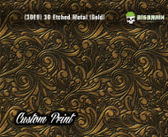 Custom Printed Design 3D Etched Metal Hydrographics Print Dip Film Big Brain Graphics (3) Brushed Metal 2 Gold