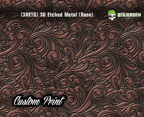 Custom Printed Design 3D Etched Metal Hydrographics Print Dip Film Big Brain Graphics (10) Brushed Metal 2 Rose Gold