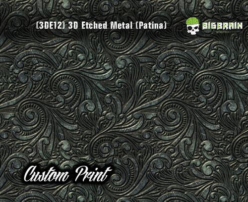 Custom Printed Design 3D Etched Metal Hydrographics Print Dip Film Big Brain Graphics (12) Brushed Bronze Patina