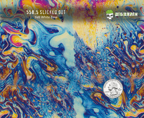 Slicked Out oil Slick 2 Colorful Trippy Hippy Tie Dye Hydrographics Film Pattern Big Brain Graphics White Base Quarter Reference