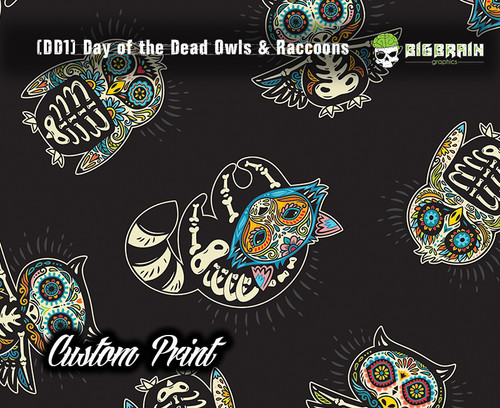 Day of the Dead Owls Owl Raccoon Awesome Animal Custom Hydrographics Film Printed Big Brain Graphics Trusted USA Seller