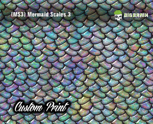Mermaid Scales Rainbow Fish Scales (MS3B) Custom Hydrographics Film Print Big Brain Graphics Printing Custom Film Pastel