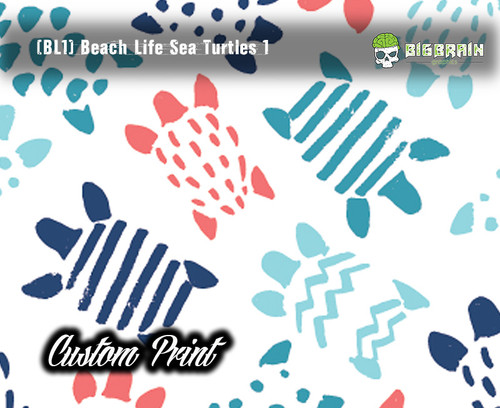 Sea Turtles Beach Life Watercolor Colorful Pattern Hydrographics Custom Film Pattern Big Brain Graphics