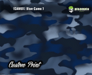 Blue Camo Military Camoflauge Custom Printed Hydrographics Film Big Brain Graphics Pattern