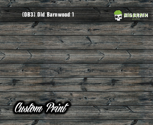 Old Rustic Barnwood 1 (OB3) Barn Wood Tattered Knotty Aged Hydrographic Film Hydrographics Custom Printed Film Big Brain Graphics