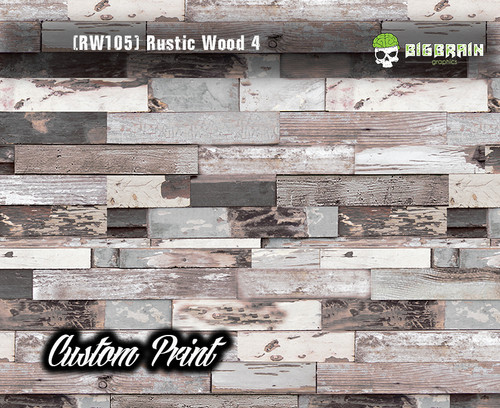 Old Rustic Wood Realistic Woodgrain Rustic Wood 4 (RW105) Multi Color Painted Deck Hydrographics Custom Printed Hydrographic Film Big Brain Graphics