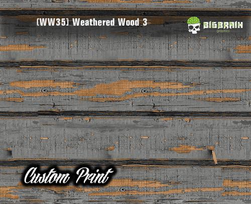 Old Rustic Weathered Wood 3 (WW35H) Horizontal Wood Realistic Woodgrain Multi Color Painted Deck Hydrographics Custom Printed Hydrographic Film Big Brain Graphics