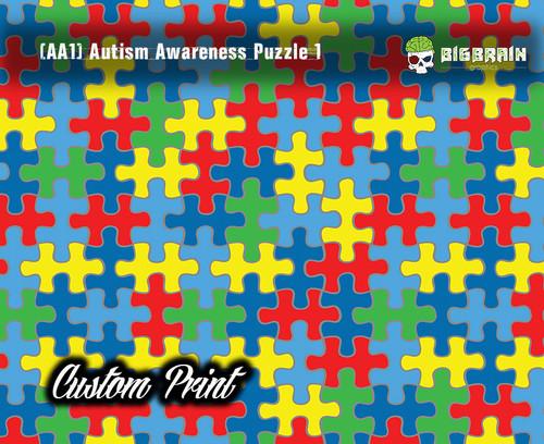 Autism Awareness Puzzle (AA1) Colorful Hydrographics Custom Film Printed Custom Hydrographic Big Brain Graphics