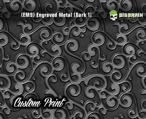 Etched Metal Dark 1 Custom Printed Design 3D Detail (EM9) Metal Hydrographics Print Dip Film Big Brain Graphics Brushed Bricks Metal